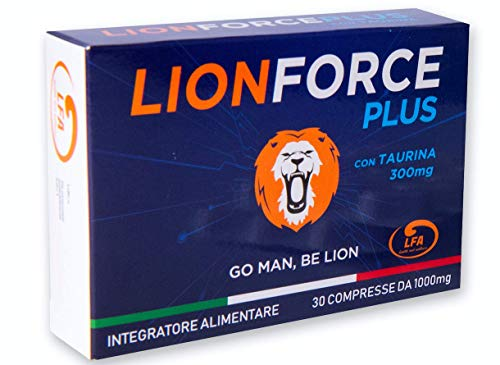 LIONFORCE PLUS® | 30 COMPRESSE 1000 Mg CADUNA | MADE IN ITALY | NUOVA FORMULA 100% NATURALE | TAURINA BOOST AD AZIONE EXTRA RAPIDA | GO MAN BE LION