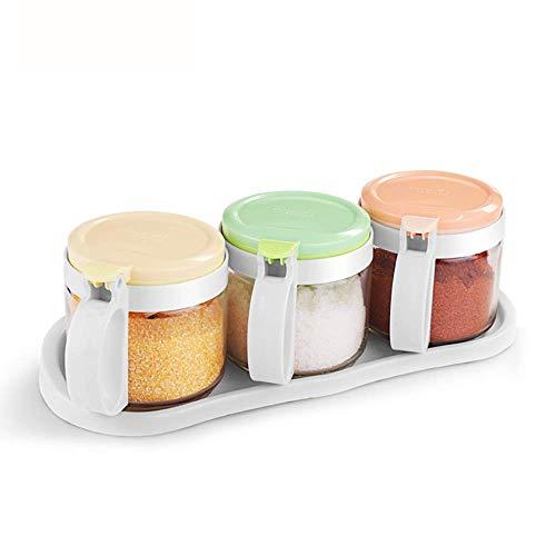 ASDFGH Scatole di spezie per condimento chiare - Scatole per condimento- Contenitori per contenitori di stoccaggio- Ampolla con coperchio e cucchiaio