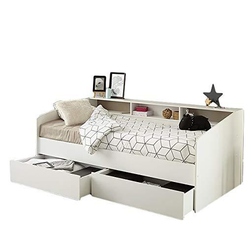 Funktionsbett Sleep 90 * 200 cm Weiß inkl. Bettschubkasten Regalwand Kinderbett Jugendbett Bettliege Bett Jugendzimmer Kinderzimmer Gästezimmer