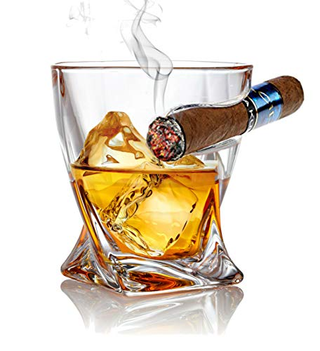 Bezrat Old Fashioned Whiskey Cigar Glasses - Tumbler With Side Mounted Holder Cigar Rest - Christmas Holiday Gift