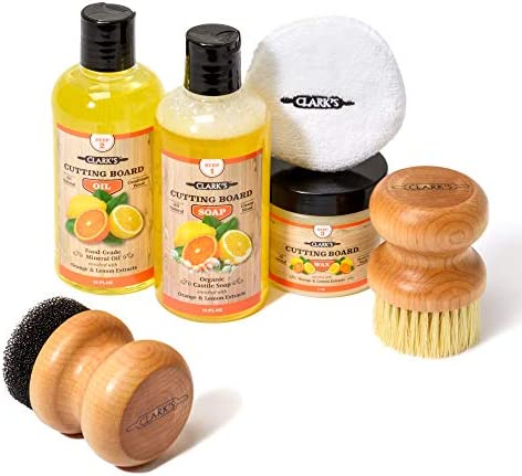 CLARK S Complete Cutting Board Care Kit Cutting Board Oil 12oz Soap 12oz Finish Wax 6oz Applicator product image