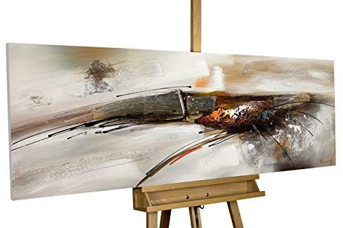 KunstLoft® Acryl Gemälde 'Bridge to You' 150x50cm | original handgemalte Leinwand Bilder XXL | Abstrakt Grau Weiß Orange | Wandbild Acrylbild Moderne Kunst einteilig mit Rahmen