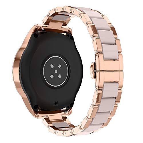 Glebo Pulsera compatible con Samsung Galaxy Watch Active 2, 40 mm, 44 mm, Active 40 mm, Watch 3 41 mm, Watch 42 mm, 20 mm, metal y resina, pulsera de repuesto para mujer, oro rosa + rosa