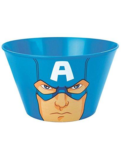 Lotmart Bols en plastique sous licence dessin animé super héros pour enfants, Livré avec stylo Lotmart, Captain America, Pack of 1