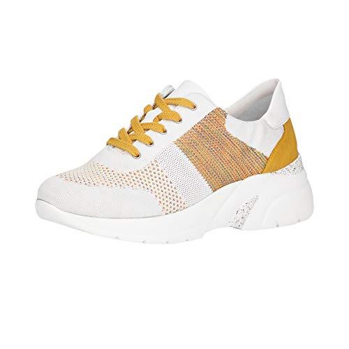 Remonte Damen Schnürhalbschuhe D4103, Frauen sportlicher Schnürer, schnürer freizeitschuh Ugly-Sneaker dad-Shoe Lady,Weiss-Multi,40 EU / 6.5 UK