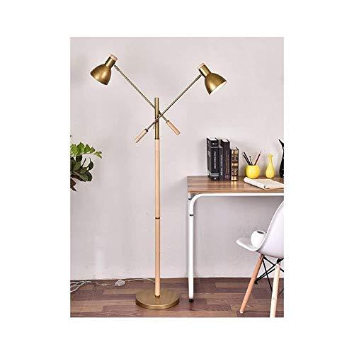 SOSERFL staande lamp, dubbele lamp-Head Swing arm staande lamp, houten lamplichaam metaal mat schaduw