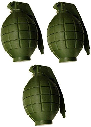 Toyland Packung mit 3 Kinder Armee Spielzeug GRÜNE Handgranaten - mit Blitzlicht & Sound - Roleplay