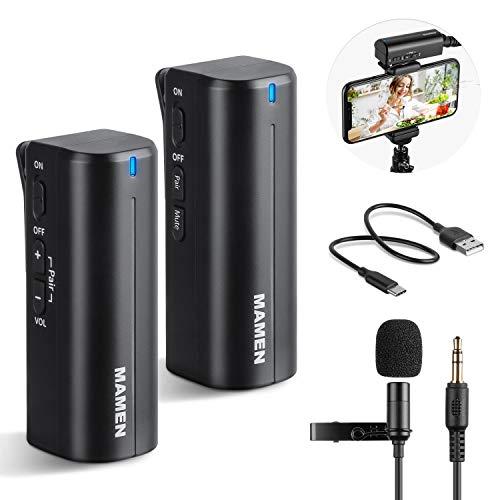 Msoat ワイヤレス 2.4G クリップマイク 無線 クリップマイク 軽量 高音質 ピンマイク 動画撮影 録音 拡声器 カメラ スマホ ミーティング インタビュー Vlog送信機*1 受信機*1