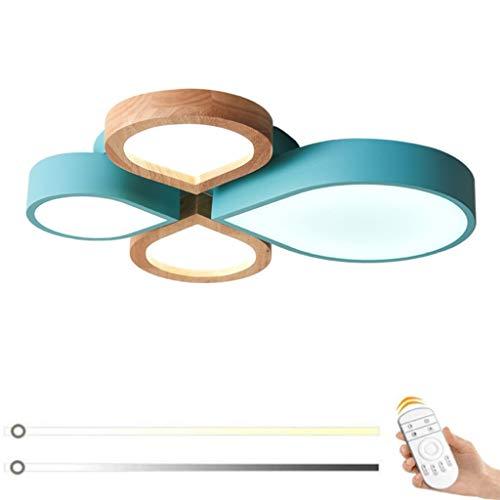 Modern LED Deckenlampe Dimmbar Kinderzimmer Warme Deckenleuchte mit Fernbedienung Holz Schlafzimmerleuchten Acryl Schatten Schmiedeeisen Wohnzimmerlampe Restaurantleuchte Innen Deckenleuchten