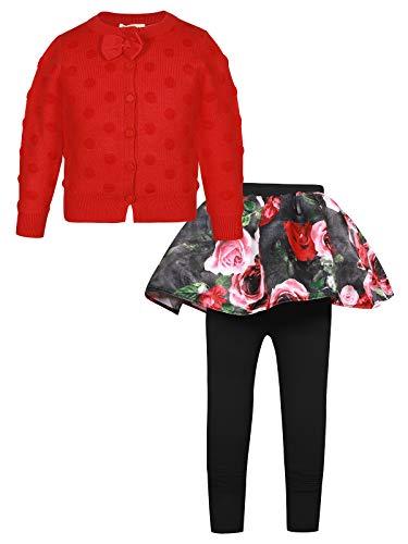BONNY BILLY Conjunto Bebé Niña Invierno 2 Piezas Chaqueta de Punto Lunares Manga Larga + Falda Floral 12-18 Meses Rojo