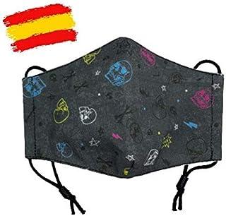 Mascarilla higiénica de tela infantil homologada UNE 0065 niño 7-8-9 años con filtro fijo lavable_marca: Brissa España