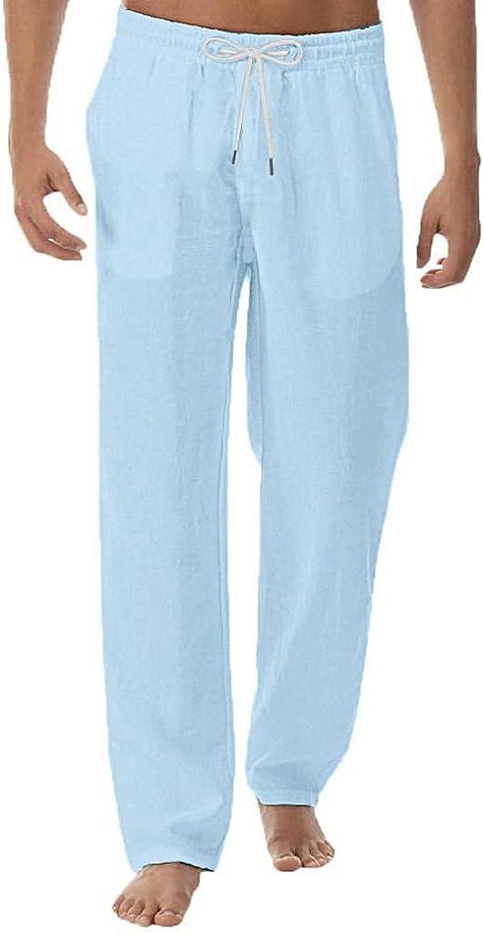 Linen Pants for Men Casual Elastic Waist Drawstring Yoga Pants Loose Fit Straight-Legs Beach Fitness Long Pants