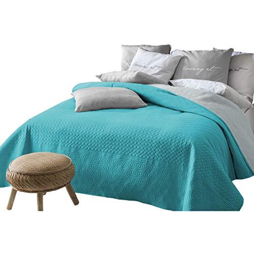 JEMIDI Tagesdecke 200cm x 220cm Bettüberwurf Bettüberwurf Sofaüberwurf Bett Decke gesteppt Tages Tagesdecken Betthusse (Türkis/Grau)