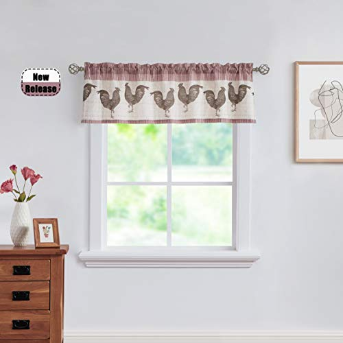 SXZJTEX Rustic Rooster Cafe Kitchen Valance Boho Rod Pocket Linen Small Window Drapes for Living Room & Kitchen, Patio, Villa,Laudry Room 54 x 15, Red