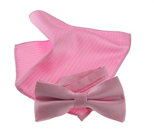 Glamour Girlz Herren Luxus Abend schwarze Krawatte Hochzeit Bräutigam Feinsilber Funkeln Flocked Print Fliege & Einstecktuch Set Candy Rosa