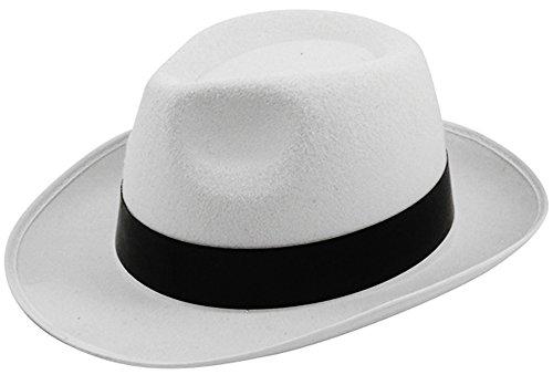 B Al-Capone-Gangster-Hut, aus Filz, Weiß oder Schwarz, Michael-Jackson-Stil, Weiß