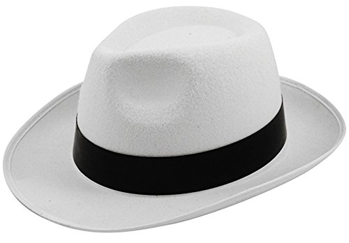 ADULT AL CAPONE GANGSTER HAT FANCY DRESS - WHITE WITH BLACK RIBBON