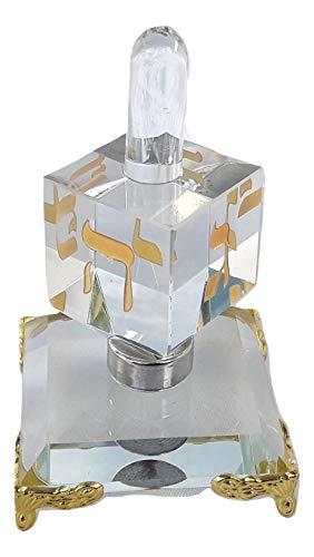 holyland souvenir New Decor Chanukah Hanukkah Crystal Israel Dreidel&Display Sevivon top Spinning