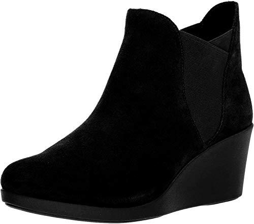 crocs Women's Leigh Wedge Chelsea Boot Rain, Black, 9 M US