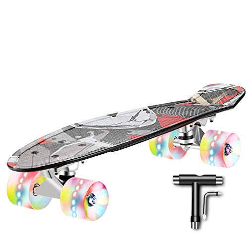 Skateboard Complete 22 inch Mini Cruiser Skateboard for Kids Teens Adults with Sturdy DeckLED Light up Wheels with AllinOne Skate TTool for Beginners
