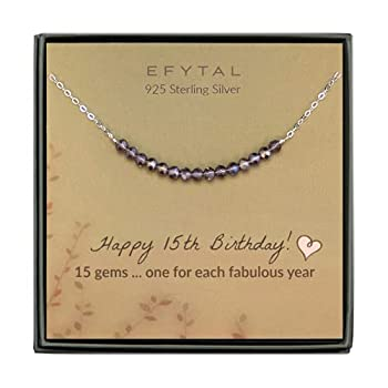 EFYTAL 15th Birthday for gifts for Her Girls Sterling Silver Necklace 15 Beads for 15 Year Old Girl Quinceanera Gift
