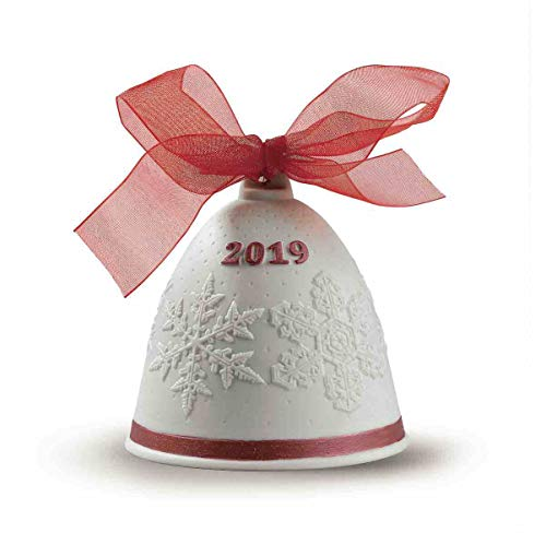 LLADRÓ Campana Navidad 2019. Rojo. Campana De Navidad de Porcelana.