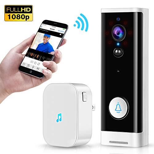 Tomlov Wifi video deurbel 1080P Wireless Smart deurbel met Dingdong 2-weg gesprek, Pir bewegingsdetectie, nachtzicht 4400 mAh batterijen, veilige lokale SD-kaart opslag Tuya Smart Life App