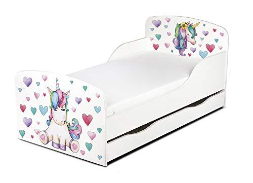 Leomark Cama Infantil Completa de Madera - Unicornio - Marco de Cama, Colchón y Cajón, Somier, Blanco Muebles para Niños, Moderno Dormitorio, Espacio para Dormir: 140/70