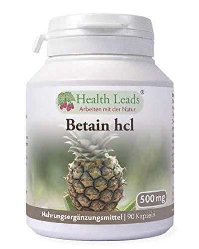 Betain HCL (Hydrochlorid) 500mg 90 Kapseln, Für Veganer & Vegetarier geeignet, Für den Magen, Ohne Magnesiumstearat oder üble Zusätze, Hergestellt in Wales