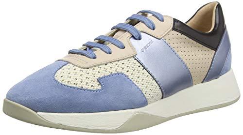 Geox D SUZZIE B, Zapatillas Mujer, Marfil (Off White/Lt Blue C0160), 38 EU