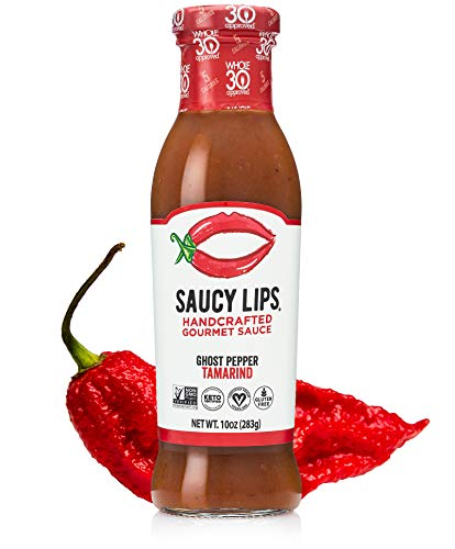 Saucy Lips, Ghost Pepper Tamarind Sauce, Handcrafted Gourmet Sauces and Marinades, Vegan Dressing, Keto Certified, Whole30 Approved,Sugar & Gluten Free,Non-GMO,Low Carb & Sodium,No Fat & Dairy, 10 oz