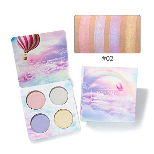 Lurrose 1pcs Multifuctional High Lighter Cosmetic Pallet Shadow Plate Color 2 Girls Women para