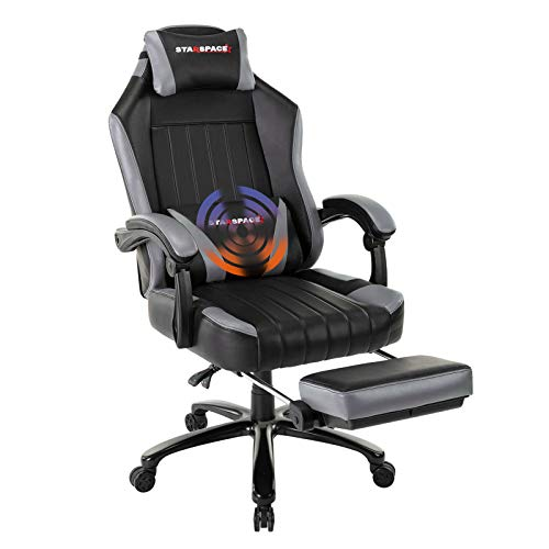 Recliner Gaming Chair with Footrest, Big Tall Computer Racing Chair Desk Chair Boned Leather Memory Foam Lumbar Support Metal Base (Grey-Up)