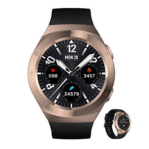 BNMY Smartwatch Reloj Inteligente con Pulsómetro,Cronómetros,Calorías,Monitor De Sueño,Podómetro Monitores De Actividad Impermeable IP68 Smartwatch Hombre Reloj Deportivo para Android iOS,A