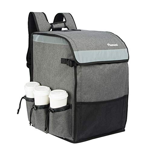PACMAXI Food Delivery Backpack, Insulated Food Delivery Bag with 6 Cup Holder, Reusable Food...