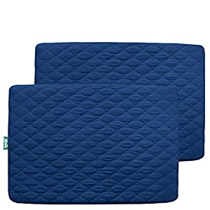 crib bedding and baby bedding mini crib mattress sheet quilted, 2 pack playpen | playard | portable crib mattress pad cover, ultra soft fitted pack n play protector, navy blue