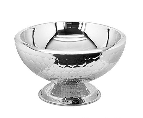 EDZARD 10,5 Liter Champagnerkühler mit 44 cm Durchmesser, Edelstahl, außen gehämmert, doppelwandig für bessere Isolierleistung (Sektkühler, Flaschenkühler, Weinkühler)