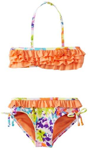 Kensie Girls' Little 2 Piece Grenadine with Bandeau Ruffle Bikini, Print, 6X