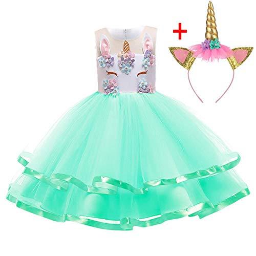 HPPLDress Kerst Kind Jurk Meisje Kostuum Meisje Prinses Jurk Kind Verjaardag Feestjurk Groen
