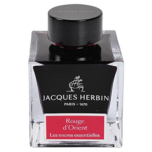 Jacques Herbin 13169JT - Botella de tinta para pluma y bolígrafo roller, 50 ml, color rojo de oriente