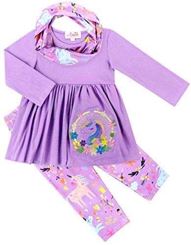 Baby Toddler Little Girls Unicorn Magic Tunic Legging Scarf Set Lilac Lavender 4T/M