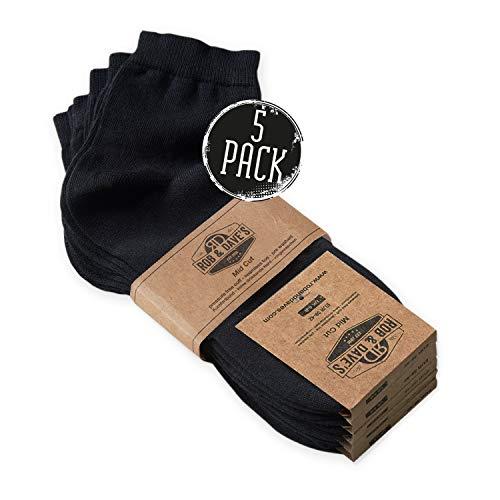 Rob & Dave's Mid Cut – kurze Herren Business Socken - 5 Paar - 47/50 - Schwarz - kurze Herrensocken - in schwarz marine & weiß - ohne drückende Naht – mit Komfortbunt