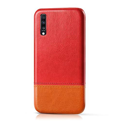 Suhctup Compatible pour Samsung Galaxy A50/A50S/A30S Coque Cuir Premium Ultra Mince Multicolore Étui Style de Design Facile Mode Housse Anti-Choc Antidérapant Protection Cover(Rouge Marron)