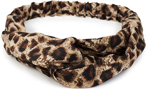 styleBREAKER Cinta para el Pelo de Mujer con Estampado de Leopardo, Nudo retorcido y Banda elástica, Cinta para la Frente, Head Band, 04026020