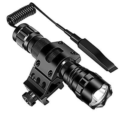 ccko Tactical Flashlight 1200 Lumens LED Light with Picatinny Mount