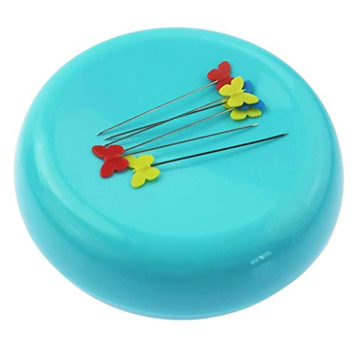 Round Magnetic Pin Cushion Sewing Pin Holder Pin Caddy Storage Case Sewing Tool - Blue