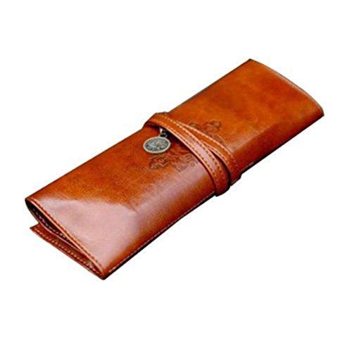 DaWa Creative Retro Leather Pen Pencil Case Cosmetic Toiletry Storage Roll Wrap Bag