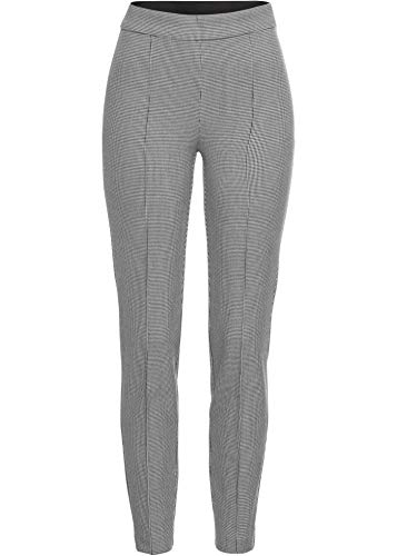 bonprix Stretch-Hose mit elastischem Bund schwarz/weiß kariert lang 38 für Damen