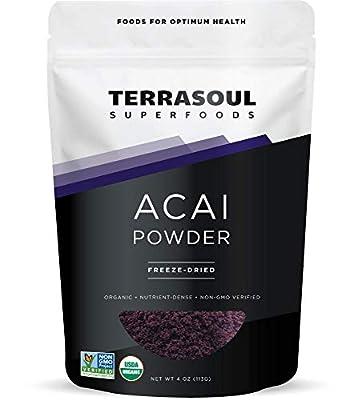 Terrasoul Superfoods Organic Acai Berry Powder, 4 Oz - Freeze-Dried | Antioxidants | Omega Fats
