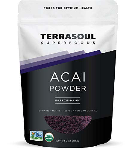 Terrasoul Superfoods Organic Acai Berry Powder, 4 Oz - Freeze-Dried | Antioxidants | Omega Fats